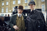 In this image released by PBS, Martin Freeman, left, and Benedict Cumberbatch appear in MASTERPIECE's