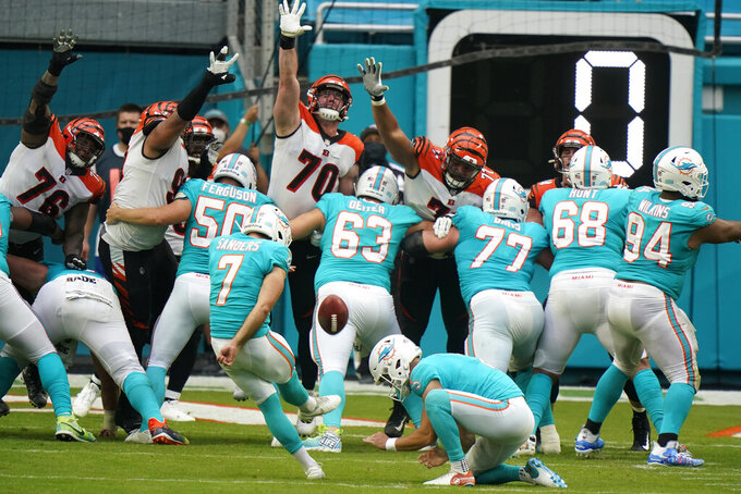 Miami Dolphins kicker Jason Sanders (7) kicks a field goal during the second half of an NFL football game against the Cincinnati Bengals, Sunday, Dec. 6, 2020, in Miami Gardens, Fla. (AP Photo/Wilfredo Lee)