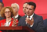 CORRECTS TO NORTH MACEDONIA, NOT NORTHERN - Macedonian Prime Minister Zoran Zeav addresses the media during a news conference in the Government building in Skopje, Macedonia, Tuesday, June 12, 2018. The prime ministers of Greece and Macedonia say they have agreed on