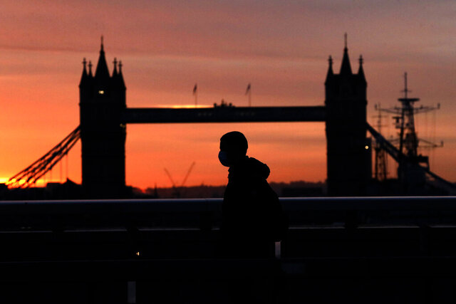 A person wearing a face mask to try to stop the spread of coronavirus walks across London Bridge, with Tower Bridge in the background, at sunrise in London, Monday, Oct. 12, 2020. In response to the coronavirus' resurgence, British Prime Minister Boris Johnson is expected to announce in Parliament on Monday a three-tier local lockdown system, formally known as