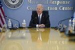 President Joe Biden participates in a briefing on the upcoming Atlantic hurricane season, at FEMA headquarters, Monday, May 24, 2021, in Washington. (AP Photo/Evan Vucci)