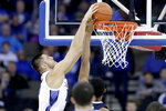 Creighton's Martin Krampelj (15) dunks against Villanova's Jermaine Samuels during the first half of an NCAA college basketball game in Omaha, Neb., Sunday, Jan. 13, 2019. (AP Photo/Nati Harnik)