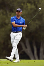 Patrick Cantlay hits from the 18th fairway during the second round of the Zozo Championship golf tournament Friday, Oct. 23, 2020, in Thousand Oaks, Calif. (AP Photo/Marcio Jose Sanchez)