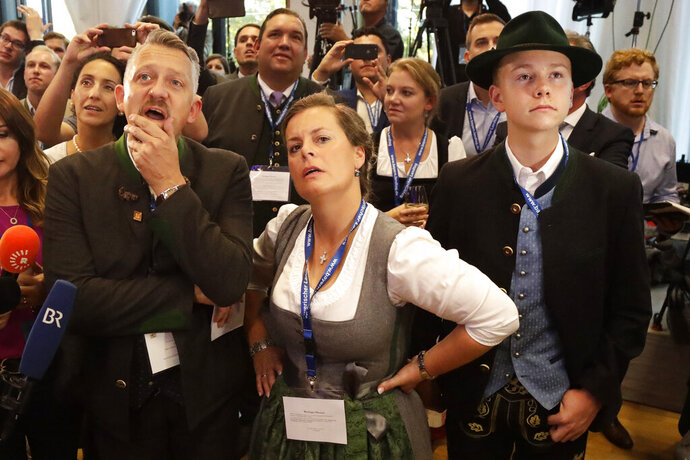 FILE - In this Sunday, Oct. 14, 2018 file photo, supporter of the Christian Social Union, CSU, react in the state parliament in Munich, Germany, after the polling stations for the Bavarian state elections have closed. A London-based think tank says last year's election in the German state of Bavaria was the subject of concerted social media campaigns designed to benefit a far-right party. (AP Photo/Matthias Schrader)
