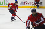 Washington Capitals center Nicklas Backstrom (19), from Sweden warms up on the ice before the start of Game 4 of the NHL Eastern Conference finals hockey playoff series against Tampa Bay Lightning, Thursday, May 17, 2018, in Washington. (AP Photo/Pablo Martinez Monsivais)