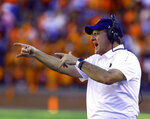 Auburn head coach Gus Malzahn reacts during the second half of an NCAA college football game against LSU, Saturday, Sept. 15, 2018, in Auburn, Ala. (AP Photo/Butch Dill)
