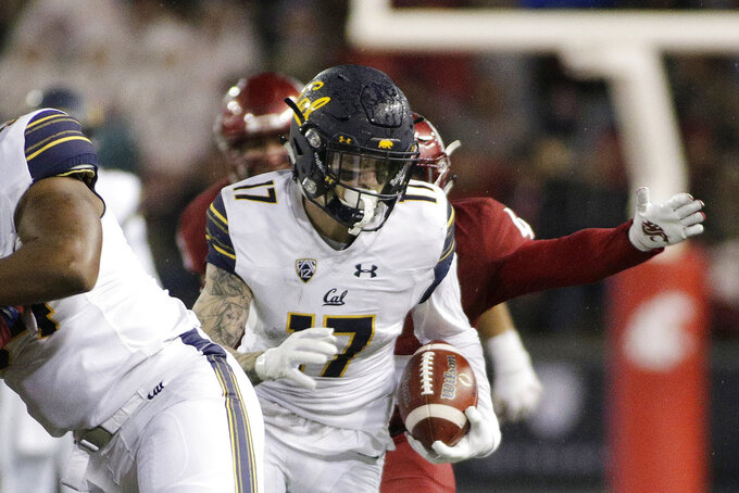 California wide receiver Vic Wharton III (17) runs with the ball during the second half of an NCAA college football game in Pullman, Wash., Saturday, Nov. 3, 2018. Washington State won 19-13. (AP Photo/Young Kwak)