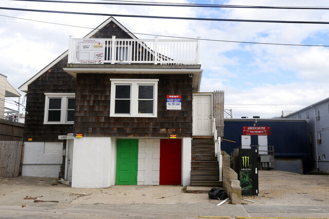 FILE - In this Oct. 31, 2012, file photo, the unoccupied house made famous by the cast of MTV is shown in Jersey Seaside Heights, N.J. On Wednesday, Sept. 16, 2020, New Jersey Gov. Phil Murphy said that the YouTube stars who rented out the