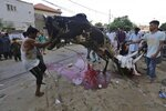 People struggle to control a bull for slaughtering on the occasion of the Eid al-Adha holidays, in Karachi, Pakistan, Saturday, Aug. 1, 2020. (AP Photo/Fareed Khan)