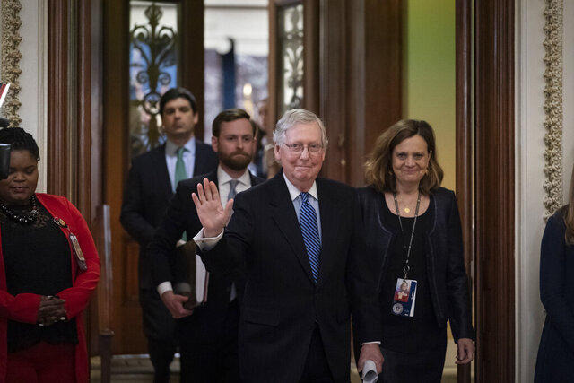 Senate Majority Leader Mitch McConnell, R-Ky., leaves the chamber after leading the impeachment acquittal of President Donald Trump, at the Capitol in Washington, Wednesday, Feb. 5, 2020. (AP Photo/J. Scott Applewhite)
