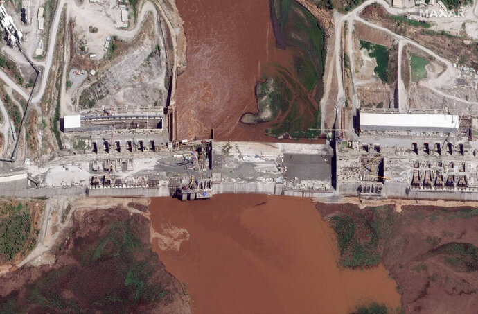 FILE - This satellite image taken Thursday, May 28, 2020, shows the Grand Ethiopian Renaissance Dam on the Blue Nile river in the Benishangul-Gumuz region of Ethiopia. Egypt wants the United Nations Security Council to