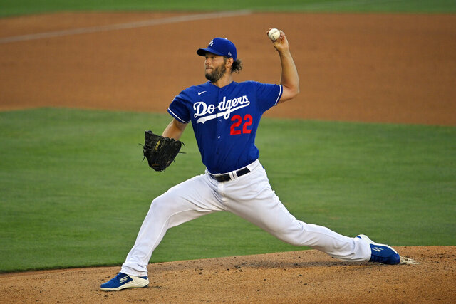 Los Angeles Dodgers starting pitcher Clayton Kershaw throws to the plate during intrasquad play in the restart of baseball spring training Monday, July 6, 2020, in Los Angeles. (AP Photo/Mark J. Terrill)