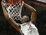 Virginia Tech's Landers Nolley II (2) dunks the ball in the second half of an NCAA college basketball game against North Carolina State Saturday, Jan. 11, 2020, in Blacksburg, Va. (Matt Gentry/The Roanoke Times via AP)
