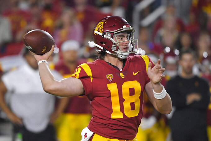 Southern California quarterback JT Daniels throws a pass during the first half of the team's NCAA college football game against Fresno State on Saturday, Aug. 31, 2019, in Los Angeles. (AP Photo/Mark J. Terrill)