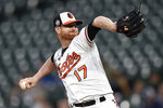 FILE - In this Sept. 11, 2018, file photo, Baltimore Orioles pitcher Alex Cobb throws against the Oakland Athletics in the first inning of a baseball game, in Baltimore. Cobb is among a handful of veterans sure to make the 25-man roster. (AP Photo/Gail Burton, File)