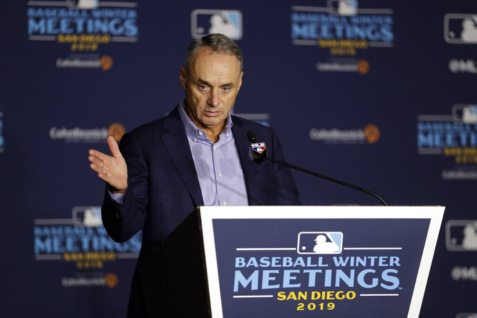 Commissioner Rob Manfred speaks during the Major League Baseball winter meetings Wednesday, Dec. 11, 2019, in San Diego. (AP Photo/Gregory Bull)