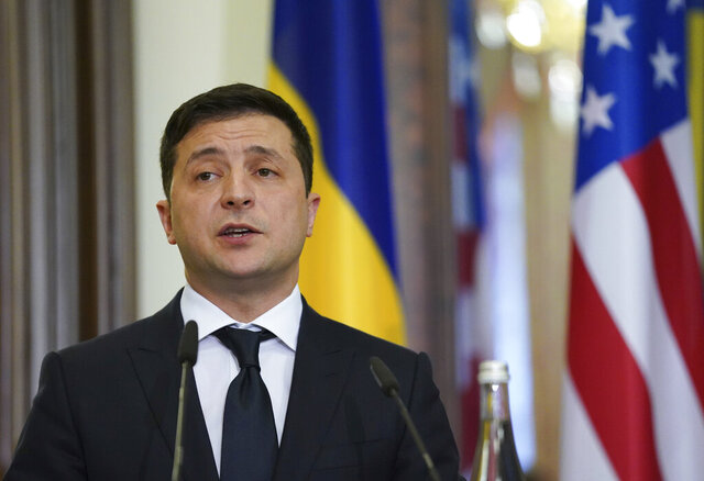 Ukraine's President Volodymyr Zelenskiy speaks during a joint news conference with U.S. Secretary of State Mike Pompeo in Kyiv, Ukraine, Friday Jan. 31, 2020. (Kevin Lamarque/Pool via AP)