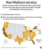 Map shows where some new Medicare Advantage support services are available; 2c x 4 inches; 96.3 mm x 101 mm;