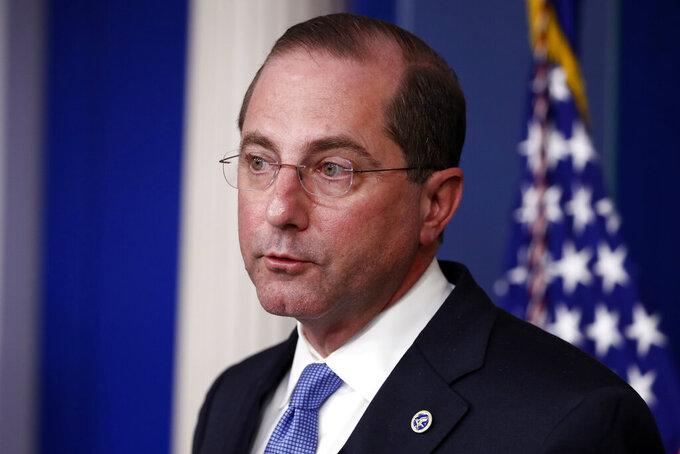 Health and Human Services Secretary Alex Azar speaks about the coronavirus in the James Brady Press Briefing Room of the White House, Friday, April 3, 2020, in Washington. (AP Photo/Alex Brandon)