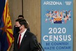 Arizona Gov. Doug Ducey arrives for a news conference with U.S. Census Director Steven Dillingham and other state leaders to urge Arizonans to participate in the nation's once-a-decade census population count Thursday, Sept. 17, 2020, in Phoenix. Ending the 2020 census at the end of September instead of the end of October, could cost Florida and Montana congressional seats and result in Texas, Florida, Arizona, Georgia, and North Carolina losing $500 million in federal funding for healthcare for its neediest residents. (AP Photo/Ross D. Franklin, Pool)