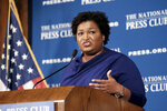 Former Georgia House Democratic Leader Stacey Abrams, speaks at the National Press Club, Friday, Nov. 15, 2019 in Washington. (AP Photo/Michael A. McCoy)
