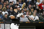 Chicago White Sox's Gavin Sheets watches his three-run home run off Pittsburgh Pirates starting pitcher Max Kranick during the fourth inning of a baseball game Wednesday, Sept. 1, 2021, in Chicago. (AP Photo/Charles Rex Arbogast)
