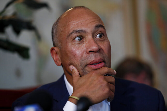 Democratic presidential candidate former Massachusetts Gov. Deval Patrick speaks to local residents during a stop at the Sykora Bakery, Monday, Nov. 18, 2019, in Cedar Rapids, Iowa. (AP Photo/Charlie Neibergall)