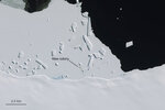 Markings points to a patch of penguin guano on an image captured by the Copernicus Sentinel-2 satellite mission Nov. 7, 2016. British scientists say they've confirmed that there are more emperor penguin colonies in Antarctica than previously thought. Researchers at the British Antarctic Survey used satellite images to spot tell-tale evidence of bird droppings. (Copernicus Sentinel-2/ESA via AP)