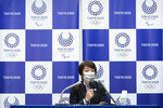 Tokyo 2020 Organizing Committee President Seiko Hashimoto speaks during a press conference Friday, June 11, 2021 in Tokyo, Japan.  The question of allowing any fans into Tokyo Olympic venues is still being debated with a decision unlikely to be announced before the end of the month. (Yuichi Yamazaki/Pool Photo via AP)