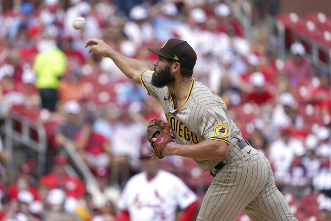 San Diego Padres starting pitcher Jake Arrieta throws during the first inning of a baseball game against the St. Louis Cardinals Sunday, Sept. 19, 2021, in St. Louis. (AP Photo/Jeff Roberson)