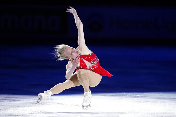 FILE- In this Jan. 17, 2021, file photo, Bradie Tennell performs during the skating spectacular at the U.S. Figure Skating Championships in Las Vegas. Defending national champion Bradie Tennell is set to compete at Skate America in late October in Las Vegas. (AP Photo/John Locher, File)