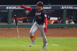 Washington Nationals' Juan Soto celebrates his home run against the Houston Astros during the fifth inning of Game 6 of the baseball World Series Tuesday, Oct. 29, 2019, in Houston. (AP Photo/Eric Gay)