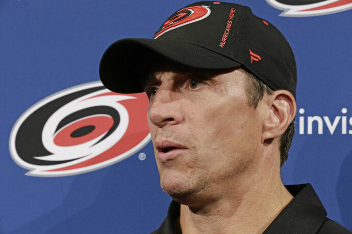 Carolina Hurricanes coach Rod Brind'Amour takes questions during the the team's NHL hockey media day in Raleigh, N.C., Wednesday, Sept. 4, 2019. (AP Photo/Gerry Broome)