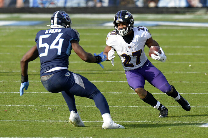 Baltimore Ravens running back J.K. Dobbins (27) carries the ball against Tennessee Titans inside linebacker Rashaan Evans (54) in the second half of an NFL wild-card playoff football game Sunday, Jan. 10, 2021, in Nashville, Tenn. (AP Photo/Mark Zaleski)