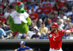 Philadelphia Phillies' Bryce Harper bats against the Toronto Blue Jays during the third inning of a spring training baseball game Saturday, March 9, 2019, in Clearwater, Fla. (AP Photo/Chris O'Meara)