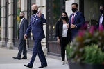 Democratic presidential candidate former Vice President Joe Biden departs after attending campaign meetings at the Hotel du Pont, Wednesday, Sept. 16, 2020, in Wilmington, Del. (AP Photo/Patrick Semansky)