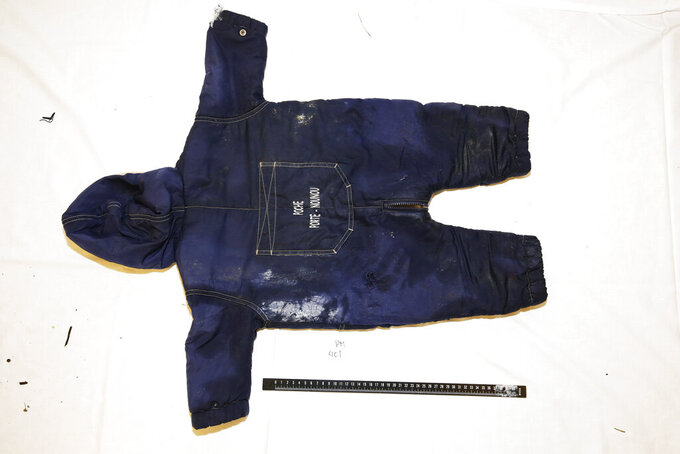 This photo released on June 7, 2021 by Norwegian Police shows the clothing belonging to an Iranian child who died months earlier in the English Channel hundreds of kilometers away when the boat in which was his parents and siblings capsized. He and his family drowned when a group of migrants tried to cross the waterway from France, police in Norway said Monday June 7. (Norwegian Police via NTB via AP)