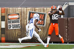 Cleveland Browns wide receiver Rashard Higgins catches a 15-yard touchdown pass during the first half of an NFL football game against the Indianapolis Colts, Sunday, Oct. 11, 2020, in Cleveland. (AP Photo/Ron Schwane)