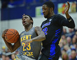 Kent State guard Jaylin Walker, left, drives against Buffalo guard Dontay Caruthers during the first half of an NCAA college basketball game, Friday, Jan. 25, 2019, in Kent, Ohio. (AP Photo/David Dermer)