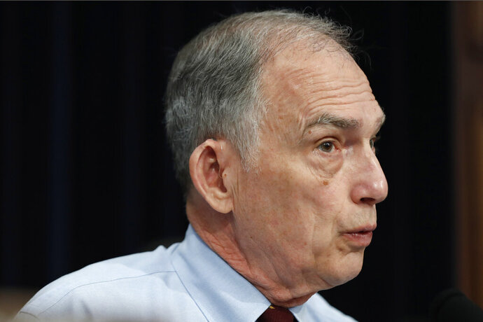 FILE - In this May 1, 2019 file photo, Rep. Peter Visclosky, D-Ind., speaks on Capitol Hill in Washington. Visclosky isn't running for reelection and will be retiring after 36 years in Congress. The 70-year-old Visclosky issued a statement Wednesday, Nov. 5, 2019, thanking his district's residents for