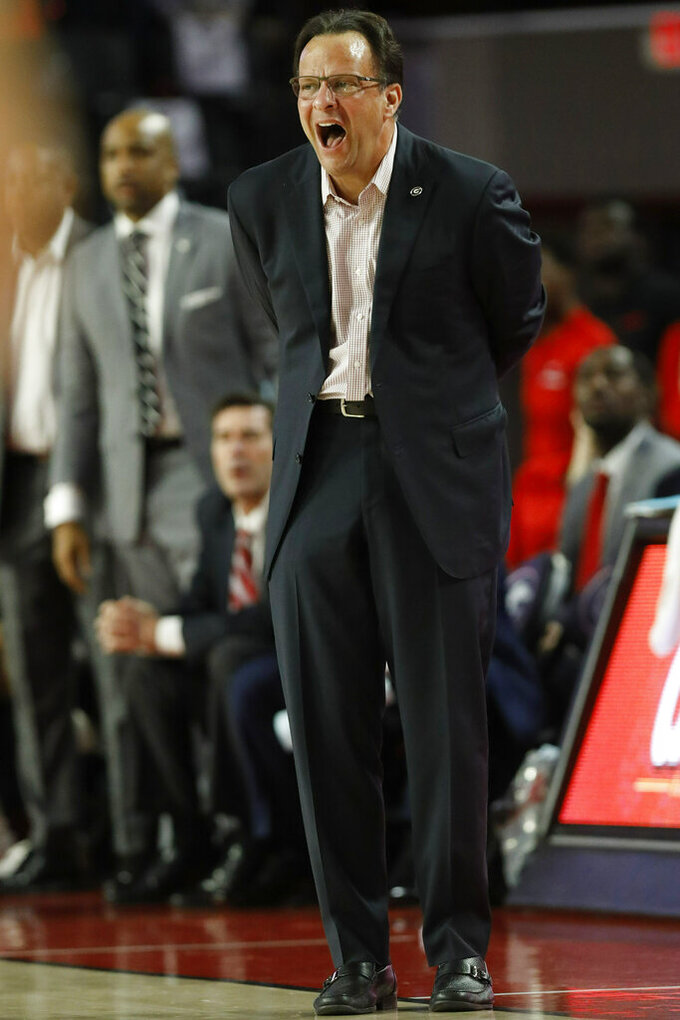 Georgia coach Tom Crean reacts during an NCAA college basketball game against Florida in Athens, Ga., on Saturday, Jan. 19, 2019.  ( Joshua L. Jones/Athens Banner-Herald via AP)