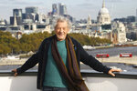 FILE - In this Oct. 30, 2019, file photo, actor Sir Ian McKellen poses for photographers at a photocall for the film