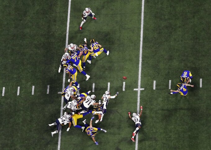 Los Angeles Rams' Greg Zuerlein (4) kicks a 53-yard field goal against the New England Patriots during the second half of the NFL Super Bowl 53 football game Sunday, Feb. 3, 2019, in Atlanta. (AP Photo/Morry Gash)