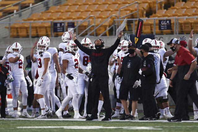 Stanford coach David Shaw celebrates during the second half of the team's NCAA college football game against California, Friday, Nov. 27, 2020, in Berkeley, Calif. (AP Photo/Jed Jacobsohn)