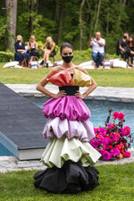 The Christian Siriano collection is modeled at Christian's home as part of New York Fashion Week, Thursday, Sept. 17, 2020, in Westport, Conn. (Photo by Charles Sykes/Invision/AP)