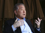 Moon Chung-in, a retired Yonsei University professor who is an influential adviser to President Moon Jae-in on inter-Korean and security issues, speaks during an interview at Yonsei University in Seoul, South Korea, Tuesday, April 17, 2018. Moon says North Korean leader Kim Jong Un likely decided to put his nuclear weapons program up for negotiation to win outside rewards so he can improve his country's economy, win public trust at home and prolong his leadership. (AP Photo/Ahn Young-joon)