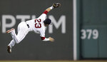 Boston Red Sox second baseman Michael Chavis (23) makes a diving catch of a fly ball by Kansas City Royals' Hunter Dozier during the eighth inning of a baseball game at Fenway Park in Boston, Tuesday, Aug. 6, 2019. (AP Photo/Charles Krupa)