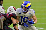 Los Angeles Rams wide receiver Cooper Kupp (10) against the Arizona Cardinals during the second half of an NFL football game, Sunday, Dec. 6, 2020, in Glendale, Ariz. (AP Photo/Ross D. Franklin)