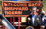 California Gov. Gavin Newsom speaks at a news conference at Sheppard Accelerated Elementary School in the Roseland community of Santa Rosa, Calif., Wednesday, April 14, 2021. Newsom touted the school as an example of California opening their schools. (Kent Porter/The Press Democrat via AP)
