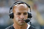 New York Jets head coach Robert Saleh is seen during the first half of a preseason NFL football game against the Green Bay Packers Saturday, Aug. 21, 2021, in Green Bay, Wis. (AP Photo/Matt Ludtke)